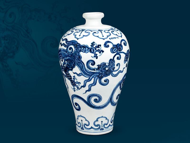 明宣德+青花螭龙纹梅瓶+高45.5公分/震旦博物馆提供
