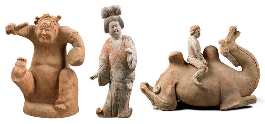 东汉说唱俑、唐彩绘陶侍女俑、唐彩绘陶胡人骑卧驼俑