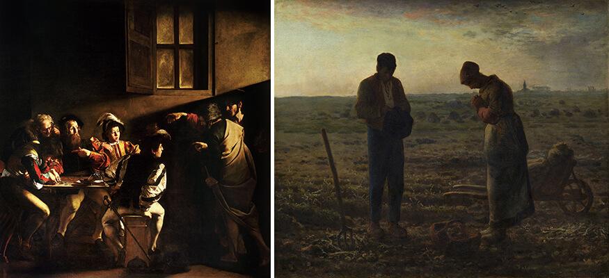 图三_卡拉瓦乔《圣马太蒙召》、图四_米勒《晚钟》
