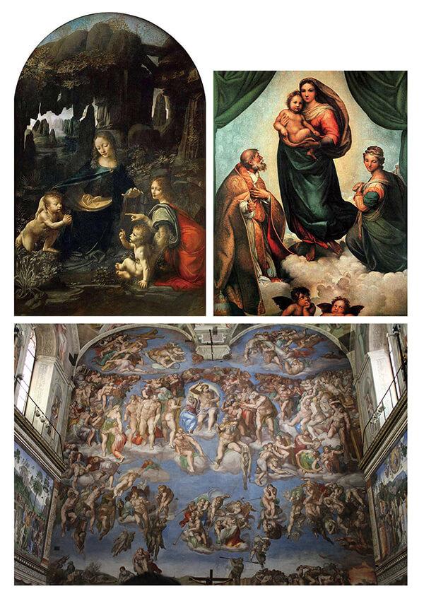 图二_左:达.芬奇《岩间圣母》、右:拉斐尔《西斯廷圣母》、下:米开朗基罗《创世纪》